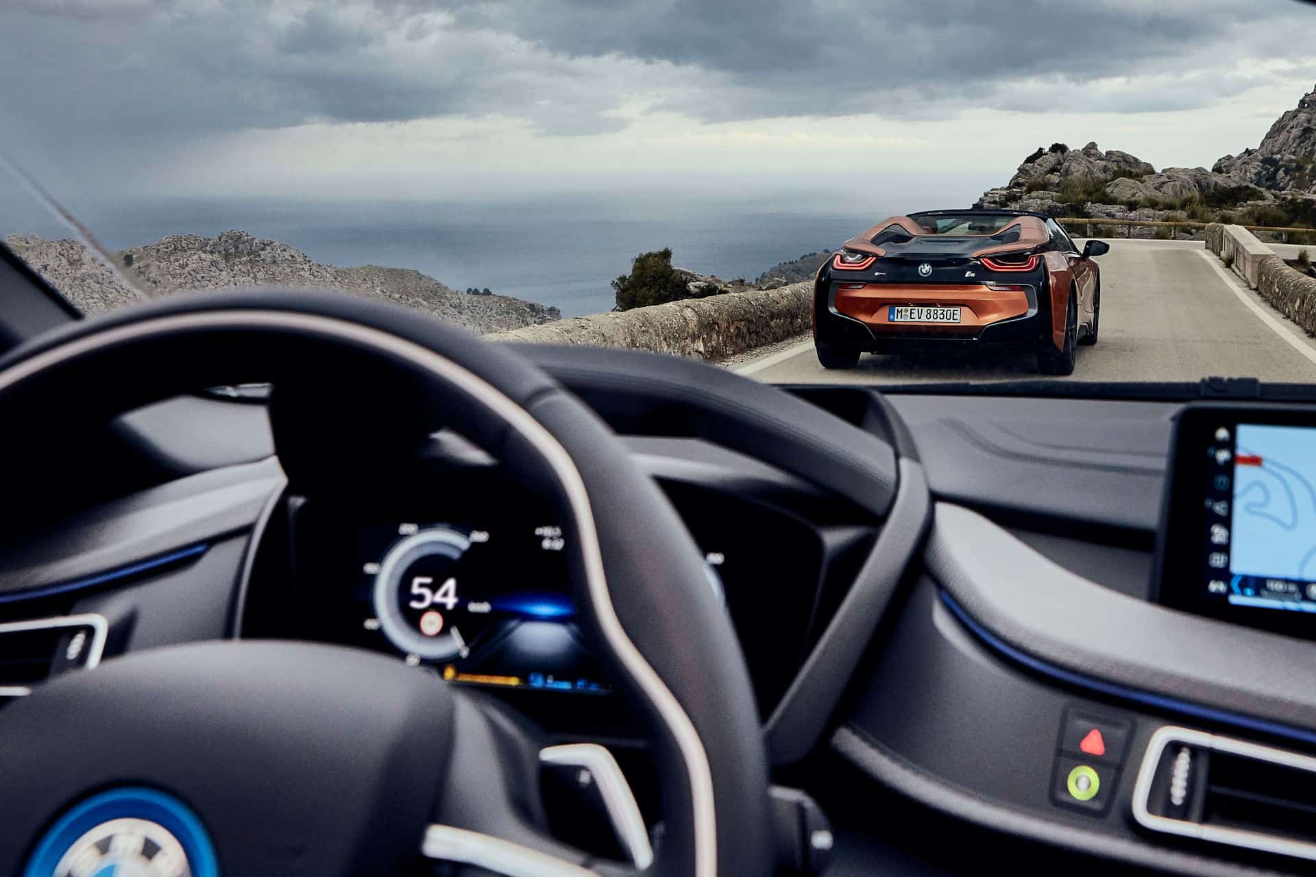 view from drivers seat of BMWi8 Roadster of 2nd BMWi8 Roadster