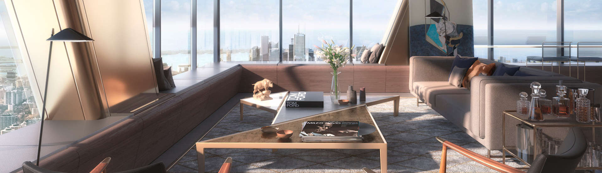 luxury penthouse livingroom view out windows of city