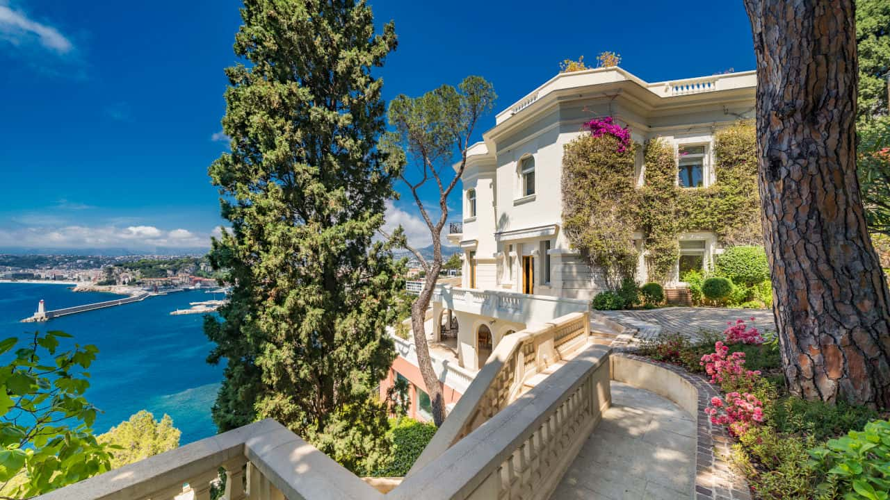 Great vista image of Sean Connery's home in the South of France that is for sale