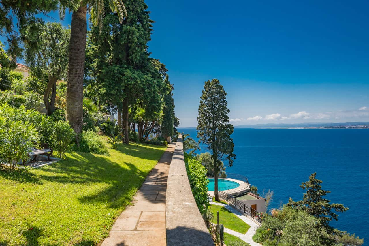 Beautiful sea side view at Sean Connery's South of France home that is for sale