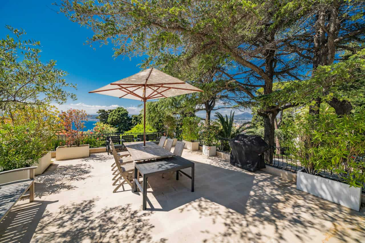 Outdoor patio image of Sean Connery's South of France home that is for sale
