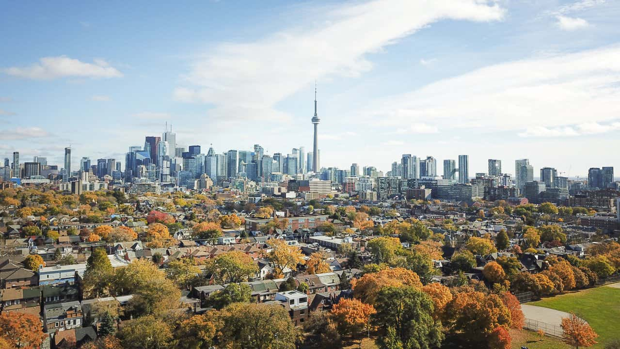 Fall-time city scape image of Toronto