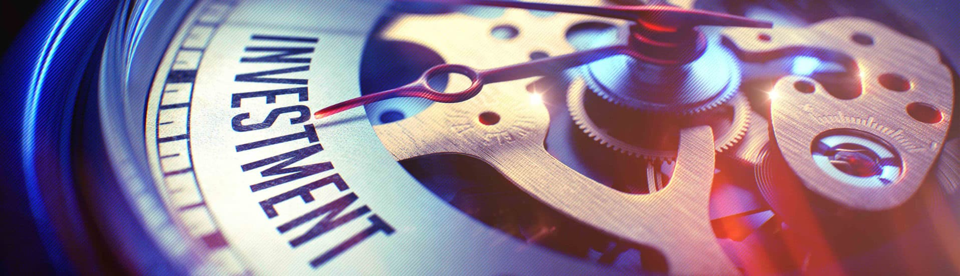 image of gears like watch with hand pointing to investment