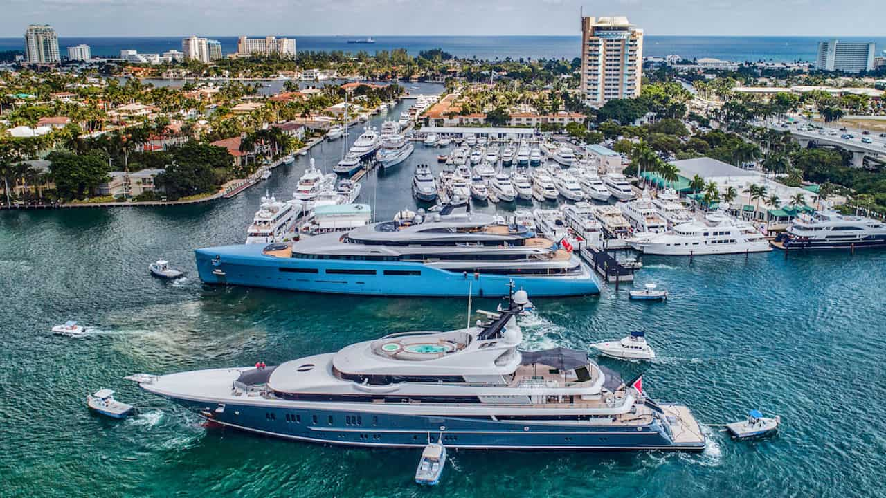 Yacht show in Fort Lauderdale view of yachts on water