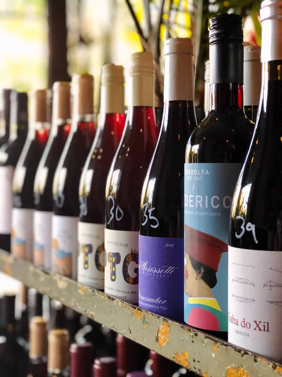 Bottles of wine for sale at Midfield Wine Bar in Toronto