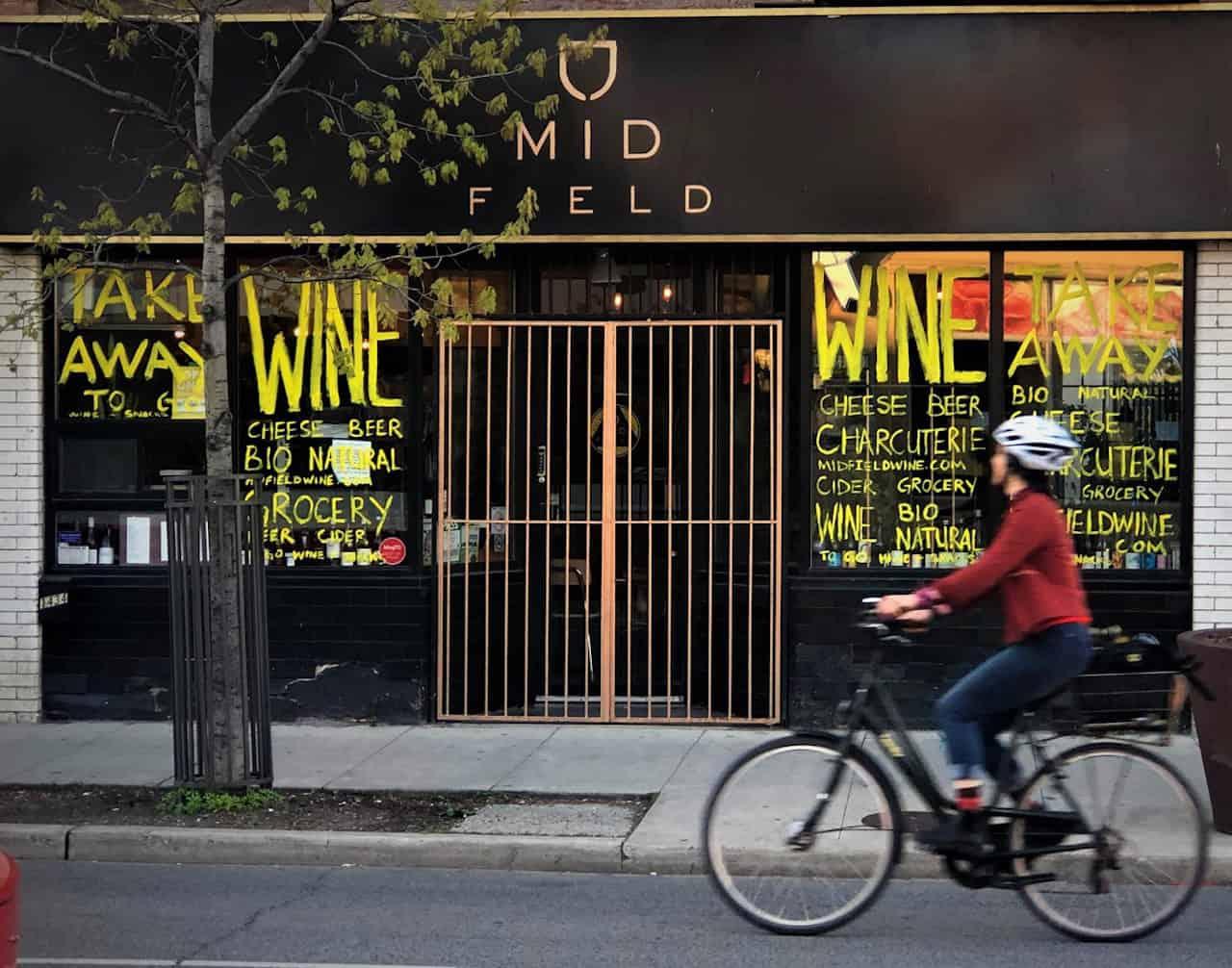 Exterior image of Midfield Wine Bar in Toronto